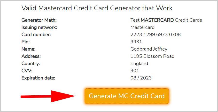 MASTERCARD Credit Card Generator, 100% Free Fake MASTERCARD CC