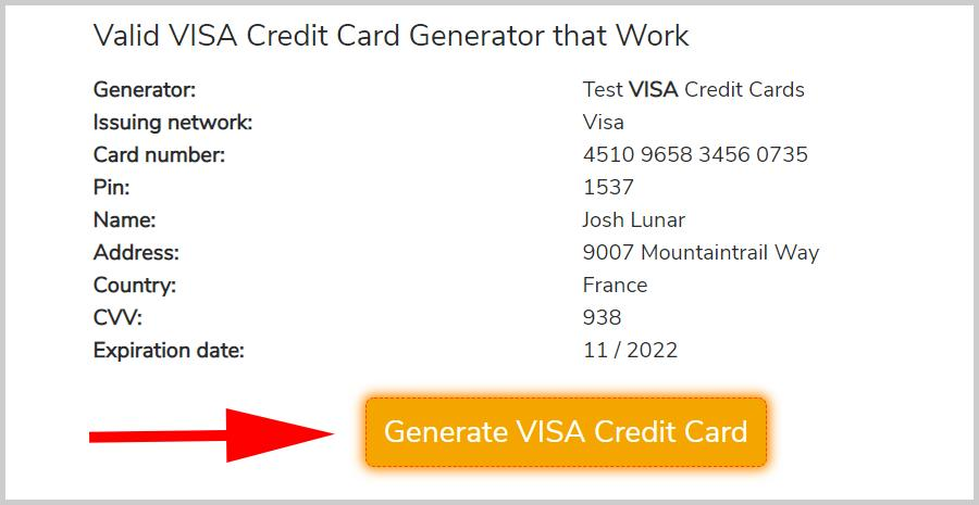 VISA Credit Card Generator, 100% Free Fake VISA CC Numbers that Work